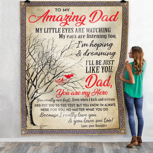 Pemola, Amazing Dad Fleece Blankets, father blanket, dad blanket, daughter blanket, dad love daughter, gift for kids, birthday gift