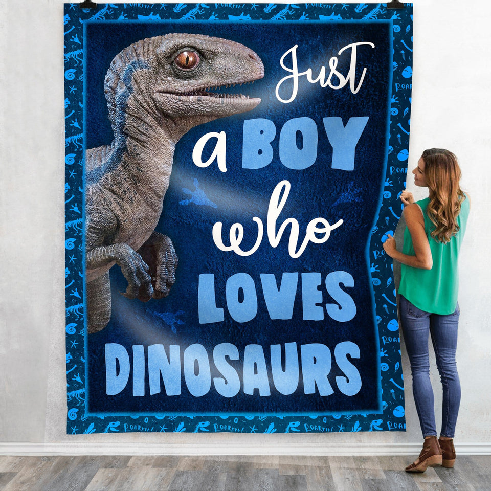 Pemola, dinosaur gifts, velociraptor blue, dinosaur blanket, kids blankets, gift for boys, fleece blankets