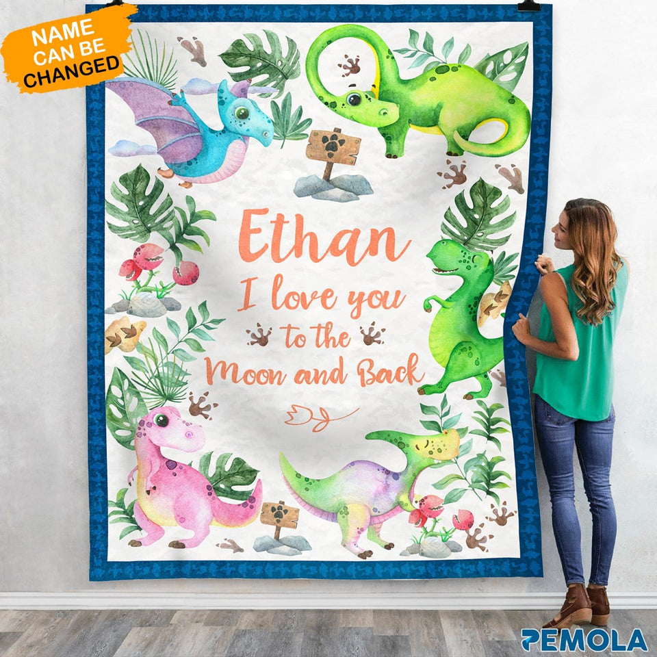 Pemola, dinosaurs for kids, custom name, personalized gifts, dinosaur bedroom decor, personalized fleece blankets