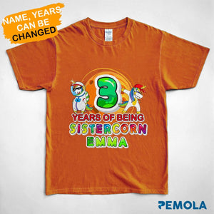 Pemola, sistercorn shirt, personalized birthday gifts, unicorn t shirt, shirts for girls, standard youth t-shirt