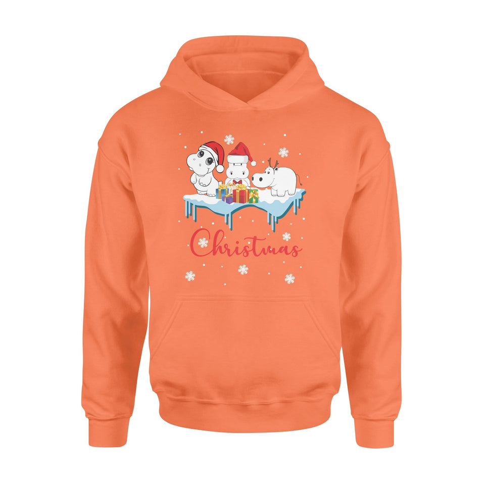 Pemola - Hippo Christmas Hoodie, hoodies for men, hoodies for women, cool hoodies, graphic hoodies