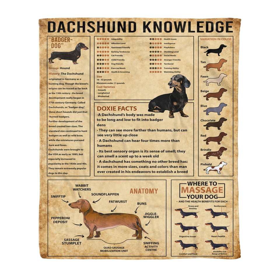 Pemola - Dachshund Dog, Dachshund Knowledge, Quotes Blankets, Saying Blankets, Fleece Blankets