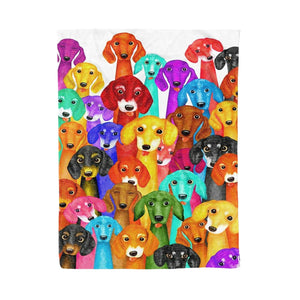 Pemola - Mutilcolor Dogs Fleece Blanket, animal blankets, blanket gift, blankets with dogs on them