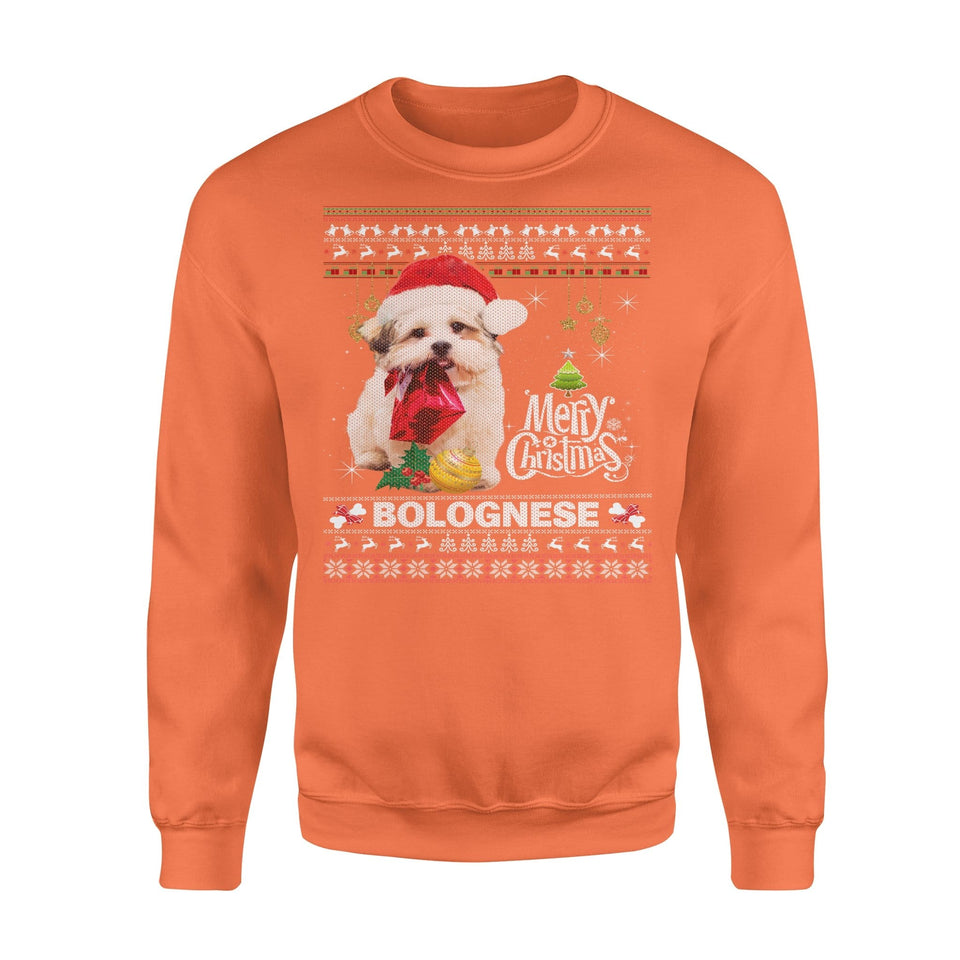 Pemola, Bolognese Dog Christmas Ugly Sweatshirts, sweatshirts with dogs, Sweatshirt