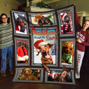 Pemola - Dachshund quotes Fleece Blanket, Dachshund Puppies Christmas, Wiener dog blanket