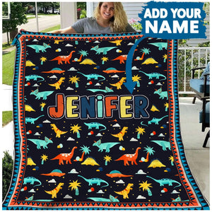 Pemola, T-rex Fleece Blanket, Dinosaur Blanket, personalized blankets, Customized gifts
