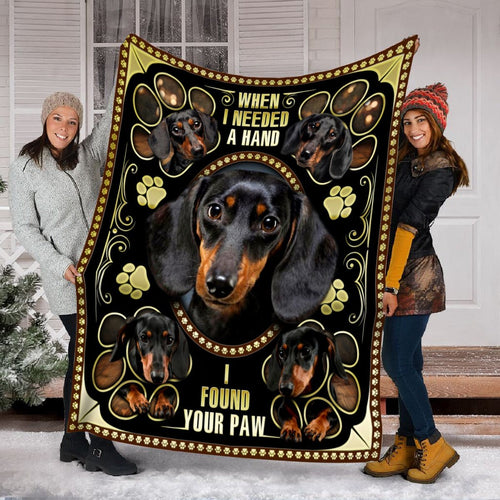 Pemola - Dachshund Cute Blanket, Black Dachshund Blanket Christmas Gifts, Paw Dog Fleece Blanket