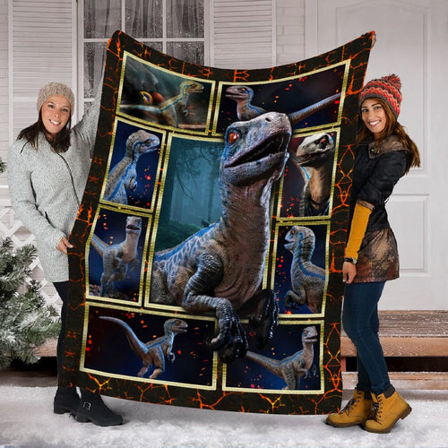 Pemola, velociraptor blue, boys blanket, cool dinosaurs, girls blanket, dinosaur bedroom decor , fleece blankets