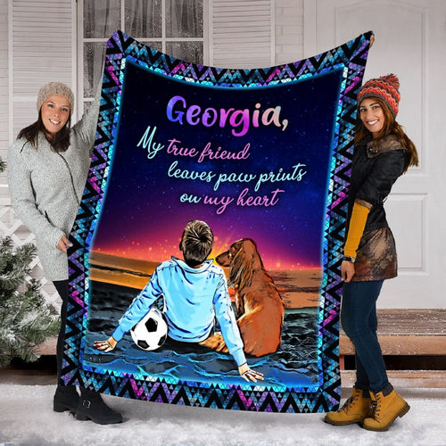 Pemola, Personalized Dog Blanket, Custom Name Dog Fleece Blanket, Gift For Kids, personalized name blankets