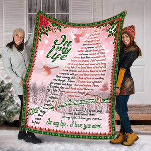 "Pemola - ""In my life"" Fleece Blanket, Cardinal Fleece Blankets, Cardinal Bird Quotes Blanket, Red Bird Saying Blanket"