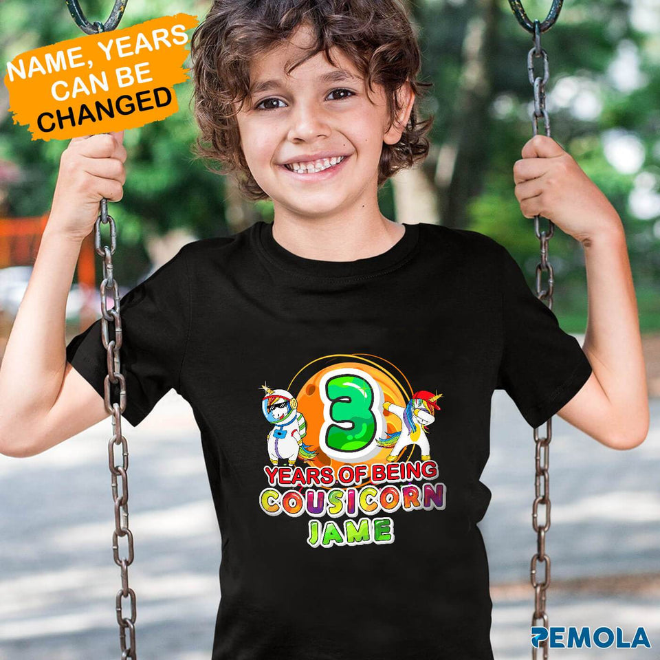 Pemola, cousicorn shirt, personalized birthday gifts, unicorn t shirt, shirts for boys, standard youth t-shirt