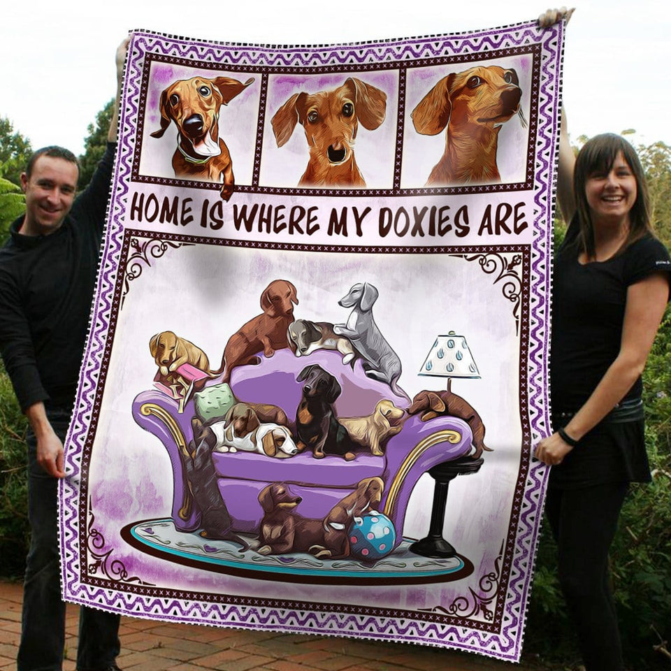Pemola - Home Is Where My Doxies Are Dachshund Dog Fleece Blanket