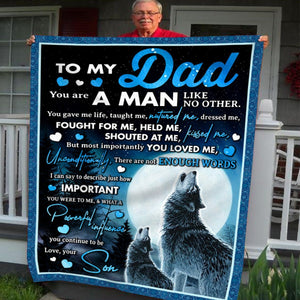 Pemola, Daddy and son Fleece Blankets, birthday gift, gifts for son, gifts for kids, Wolf blanket