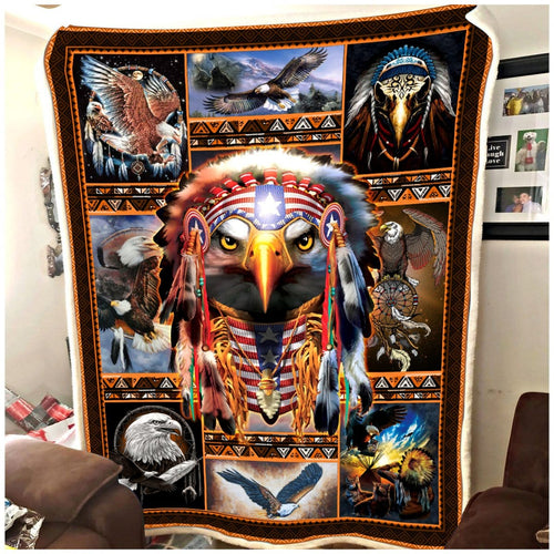 Eagle Fleece Blankets, Eagle Native Blanket, Native American Blanket, Bald Eagle Blanket