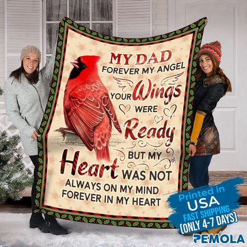 Pemola - Saying Dad Blanket, Cardinal Bird Blanket, Love Dad Cardinal Fleece Blanket