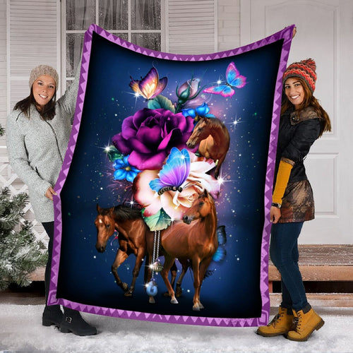Pemola - Horse Butterfly Fleece Blanket, Horse memories blanket, blanket horse girl for your family