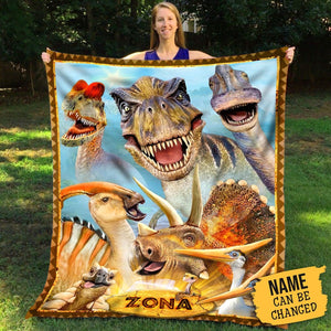 Pemola, Dinosaur Blanket, personalized gifts for kids, custom fleece blankets, birthday gift