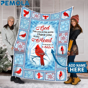 Pemola, Quotes Cardinal Bird Fleece Blanket, personalized gifts, memorial gifts, northern cardinal, personalized best friend gifts