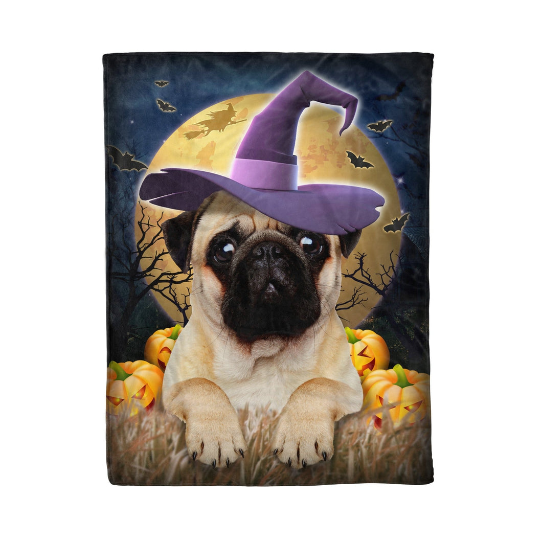 Pemola - Pug dog Witch Halloween Fleece Blanket, animal blankets, blanket gift