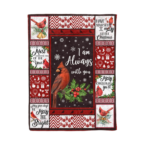 Pemola - Cardinal Bird Quote Christmas Fleece Blanket, red cardinal blanket, blankets with cardinal birds, animal blankets