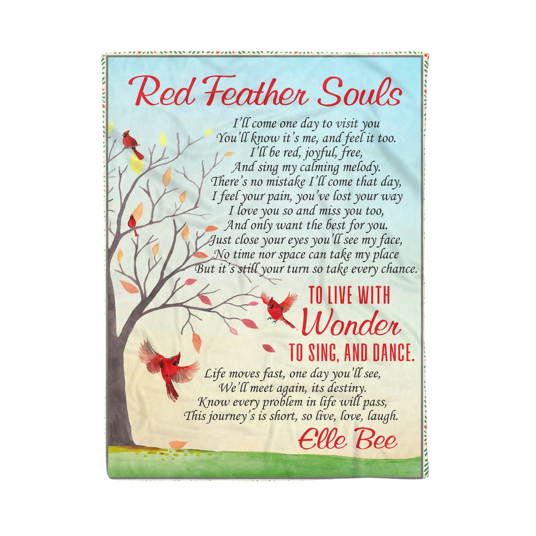 Pemola, Red Feather Souls Fleece Blankets, gifts for women, mothers day gift ideas, birthday gift