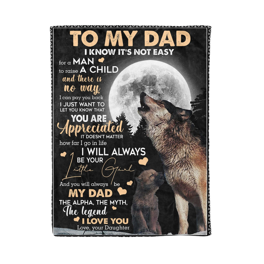 Pemola, To my Dad Fleece Blankets, Quotes dad blanket, Wolf Blanket, gifts for daughter, gifts for dad, father's day gift
