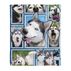 Pemola - Husky Dogs Fleece Blanket, animal blankets, blanket gift, blanket with husky dogs