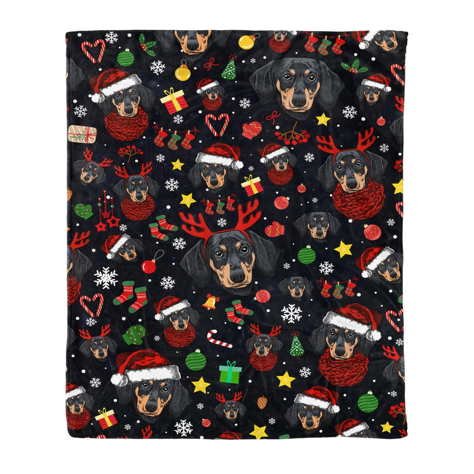 Pemola - Pattern Dachshund Blanket, Dachshund Dog Christmas Fleece Blanket Gift For Best Holiday