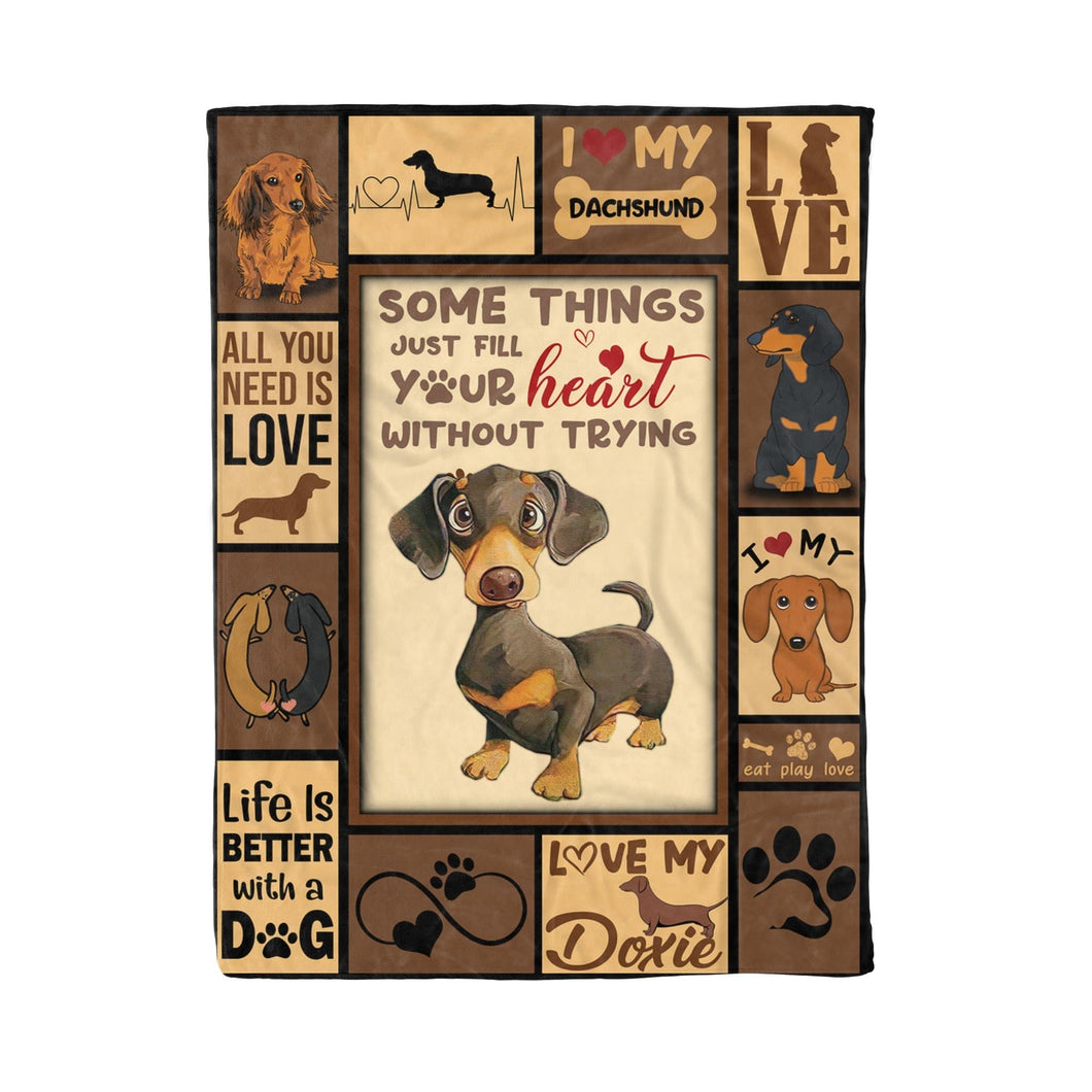 Pemola - Funny Doxie Blanket, Dog Lovers Blanket, Sympathy Gifts, Gift For Her, Dachshund Fleece Blanket