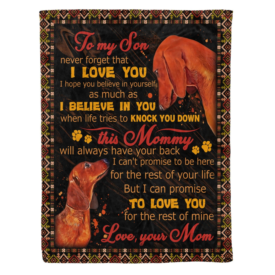 Pemola - To My Son... Dachshunds Dog, sausage dog, wiener dog, Fleece Blanket