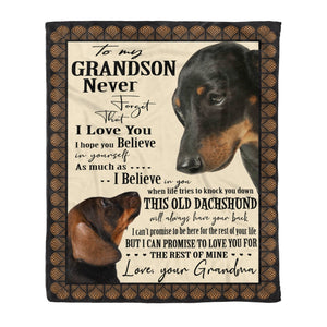 Pemola - Grandson Gift, Dog Owners Blanket, The Perfect Christmas Present Dachshund Dog Fleece Blanket