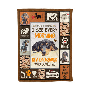 Pemola - Dachshund dog puppy Wiener dog Quotes, camping blanket Fleece Blanket