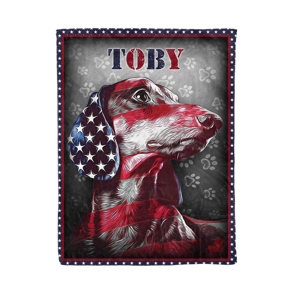 Pemola - Custom name, American Dog, Dachshund Dog, Love Dachshund, Fleece Blanket