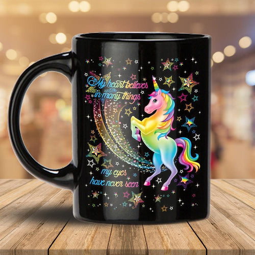 Pemola - Unicorns And Rainbows Black Mug, Unicorn Valentines Day Mugs, valentines mug gifts