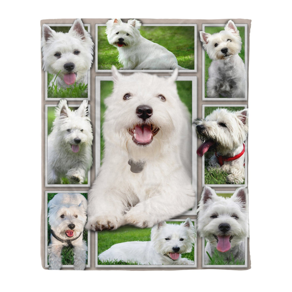 Pemola - West Highland White Terrier Fleece Blanket, animal blankets, blanket gift
