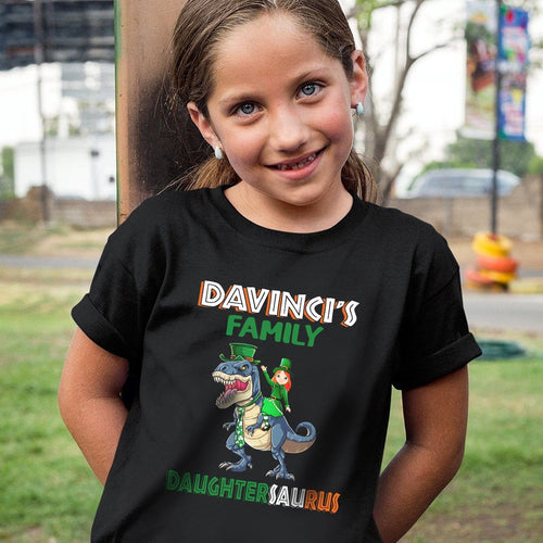 Pemola, girls dinosaur shirt, tyrannosaurus, matching family shirts, cool graphic tees, dinosaur, st patrick's day
