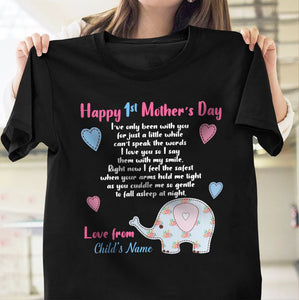 Pemola, Happy 1st mother's day tshirt, mother's day shirt, gift custom, personalized shirt