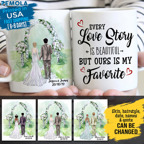 Pemola - Valentine Gift, Wedding Anniversary Gifts, Personalized Wife Gifts, Custom Wedding Mug, Personalized Bride And Groom Mug