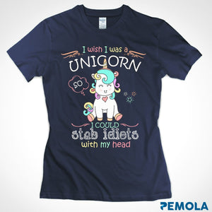 Pemola, I wish I was a Unicorn Women's T-shirt, unicorn shirts, unicorn shirts for girls, unicorn shirts for womens, funny shirts
