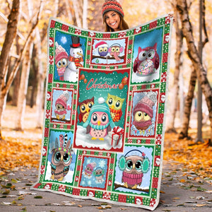 Pemola - Owl Christmas and Happy New Year Fleece Blanket, blanket gift, animal blankets