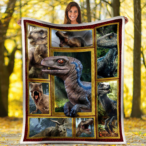 Pemola - Dinosaur Blue Dino Fleece Blanket, animal blankets, blanket gift, fleece dinosaur