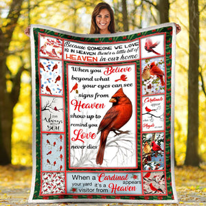 Pemola - Cardinal Saying Christmas Fleece Blanket, red cardinal blanket, cardinal birds quotes