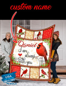 Pemola, I am Always With You, cardinal bird blanket, custom blankets, personalized name blankets, fleece blankets
