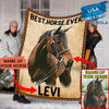 Pemola - Horse custom photo Fleece Blanket, horseback riding blanket for horse lover.