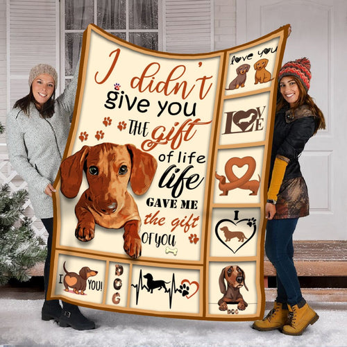 Pemola - Proud Dog Mom Blanket, Doxie Mom Gift, Cozy Blanket Dachshund Dog Fleece Blanket