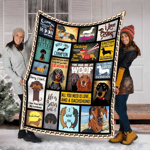 Pemola - Dachshund Dog, Quotes Blanket, Saying Blanket, Funny Blanket, Fleece Blanket