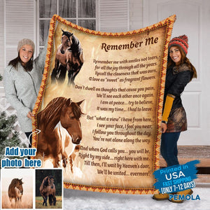 Pemola - Remember me horse Fleece Blankets, horse quotes blanket, horse saying blanket for your family.