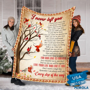 Pemola - I never left you fleece blankets, quotes cardinal blanket, red bird blanket
