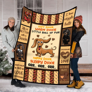 Pemola - Awesome Dog Blanket, Best Friends Blanket, Gift For Her, Grandma Gifts, Doxie Lovers, Dachshund Fleece Blanket