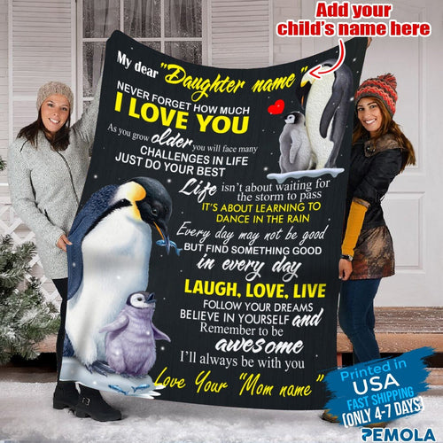 Pemola, Penguin blanket, personalized name blankets, custom blankets, fleece blankets, gifts for 10 year old girls